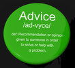 Advice Definition Button Showing Recommendation Help And Support