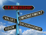 Leadership Signpost Showing Vision Values Empowerment and Encour