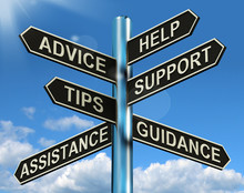 "Постер, картина, фотообои ""Advice Help Support And Tips Signpost Showing Information And Gu"""