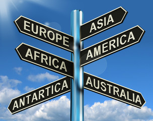 Europe Asia America Africa Antartica Australia Signpost Showing