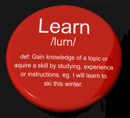 Learn Definition Button Showing Knowledge Gained And Study