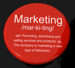 Marketing Definition Button Showing Promotion Sales And Advertis