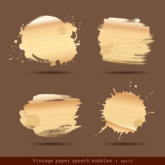 Vintage paper speech bubble paint brush, vector