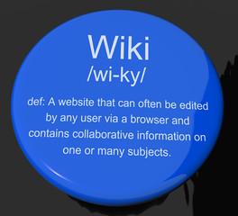 Wiki Definition Button Showing Online Collaborative Community En