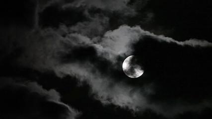 Supermoon and clouds