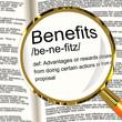 Benefits Definition Magnifier Showing Bonus Perks Or Rewards