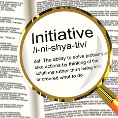 Initiative Definition Magnifier Showing Leadership Resourcefulne