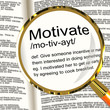 Motivate Definition Magnifier Showing Positive Encouragement Or