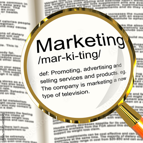 Marketing Definition Magnifier Showing Promotion Sales And Adver