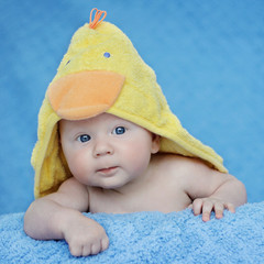 Adorable portrait of three months old baby