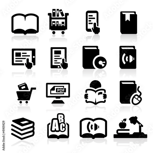 Books icons set Elegant series