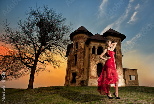 Beautiful girl in red dress near the castle