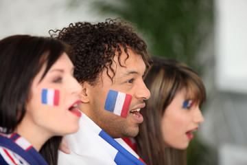 French supporters screaming