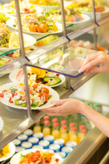 Buffet self service canteen display fresh salad