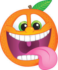 Funky cartoon orange fruit character with wide smile