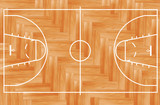 Wooden parquet floor basketball court. Vector illustration