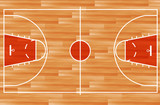 Wooden parquet floor basketball court. vector