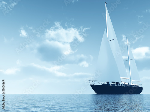 sailing vessel travelling on ocean against of blue sky