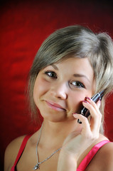 Girl, talking on phone.
