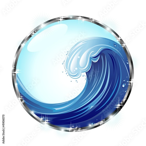 Onda Oceano Icona Cristallo-Ocean Wave Crystal Web Icon