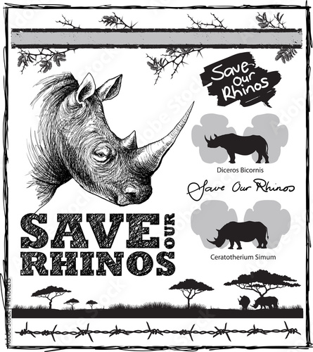 Save our rhinos design elements
