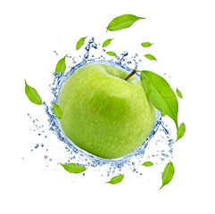 Green apple in water splash, isolated on white background