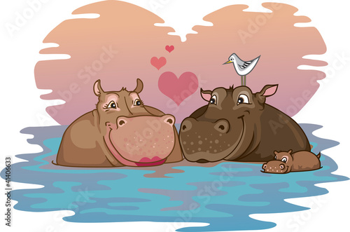 Two Hippos in Love with their baby hippo in a river