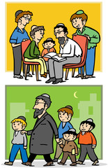 Jewish orthodox family - Father and his children