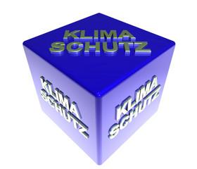 3D Blauwuerfel - KLIMASCHUTZ