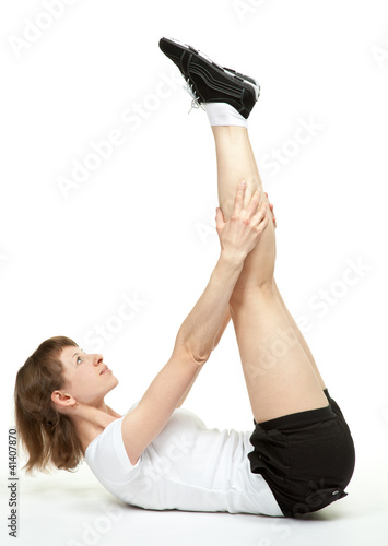 Young woman doing sport exercises