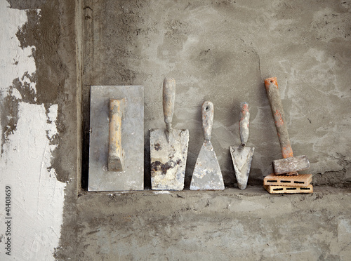 aged construction cement mortar used tools Poster