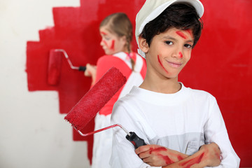 children dressed as painters