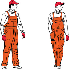 a sketch two workers in orange combinations