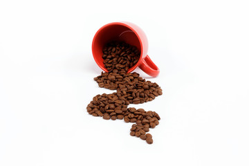 Flow beans from an overturned cup on a white background.