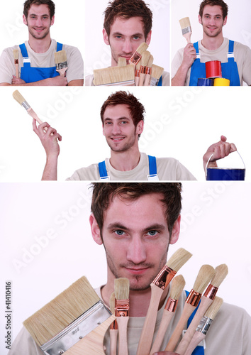 Collage of painter holding a variety of brushes