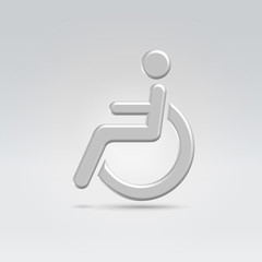 Stickman in wheelchair icon concept shot backlit made of metal