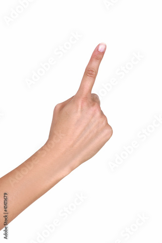 Female hand with outstretched index finger