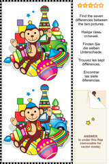 Find the differences visual puzzle - toys