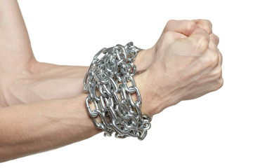 Man hands fettered with chain, slave symbol