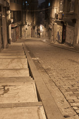 Dark street in night, Istanbul, Turkey