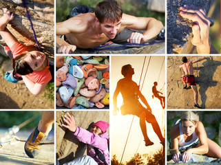 collage of photos of rock climbing