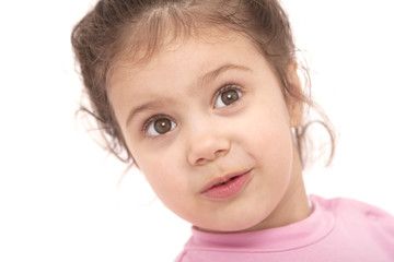 young smiling girl in pink shirt over the white background
