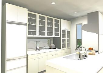 ライトイエローのオープンキッチン