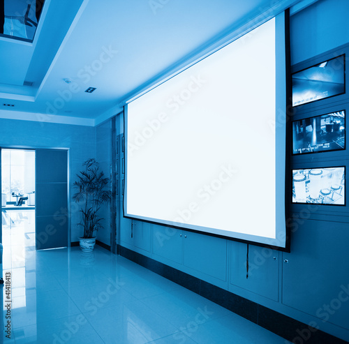 projection screen in meeting room