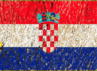 croatian flag  grunge wooden texture