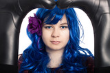 Mysterious woman in blue wig poster
