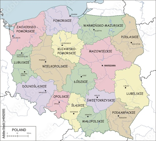 Contour map of Poland with voivodeships, rivers and lakes