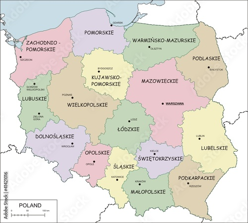 Contour map of Poland with voivodeships