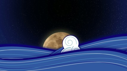 Moon rise with stylized sea waves.