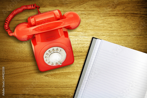 red phone on desk